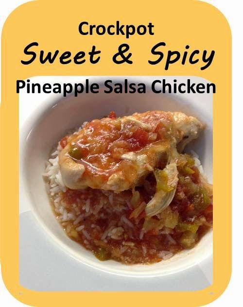 Crock-Pot (or slow cooker) Sweet & Spicy Pineapple Salsa Chicken - easy, only 4 ingredients, and delicious! via BalancingMama.com #dinner
