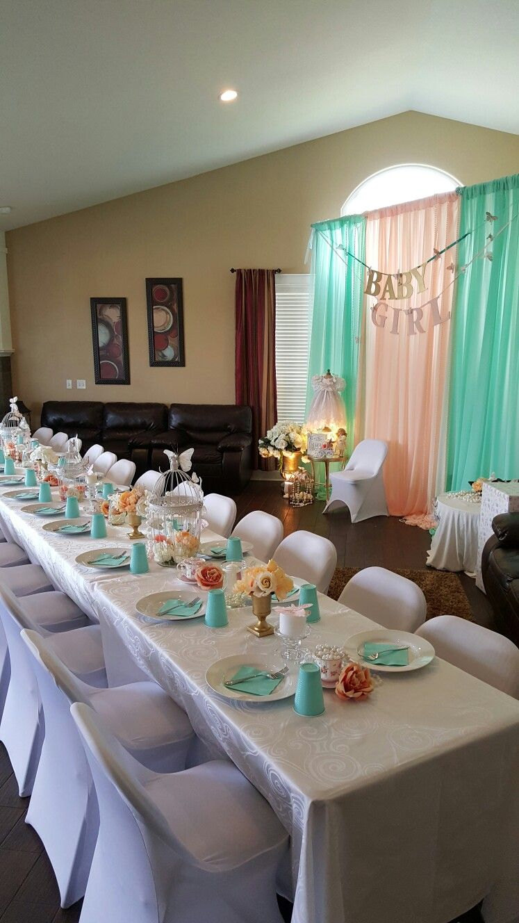 Mint and peach baby shower | girl baby shower ideas ...