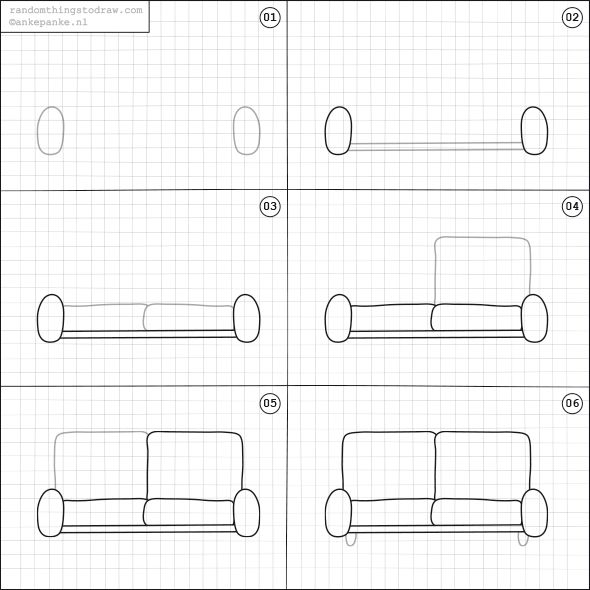 how to draw a couch for kids
