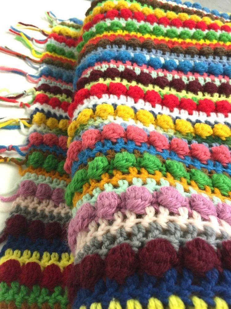 """Crocheted Afghan Throw Rainbow Vtg Fringe Blanket 49"""" X 80 ..."""