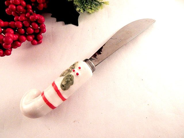 """Serving utensil, spreader, knife Christmas, winter holiday tableware 5 1/2"""" long stainless steel spreading knife White ceramic handle hand painted with red stripes and holly Vintage 1970's entertaining table accessory  YS1215CV50W2SW5BL960FL516  ..."""