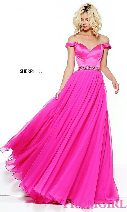 Sherri Hill Long Off-the-Shoulder Prom Dress | Beauty and the Beast ...