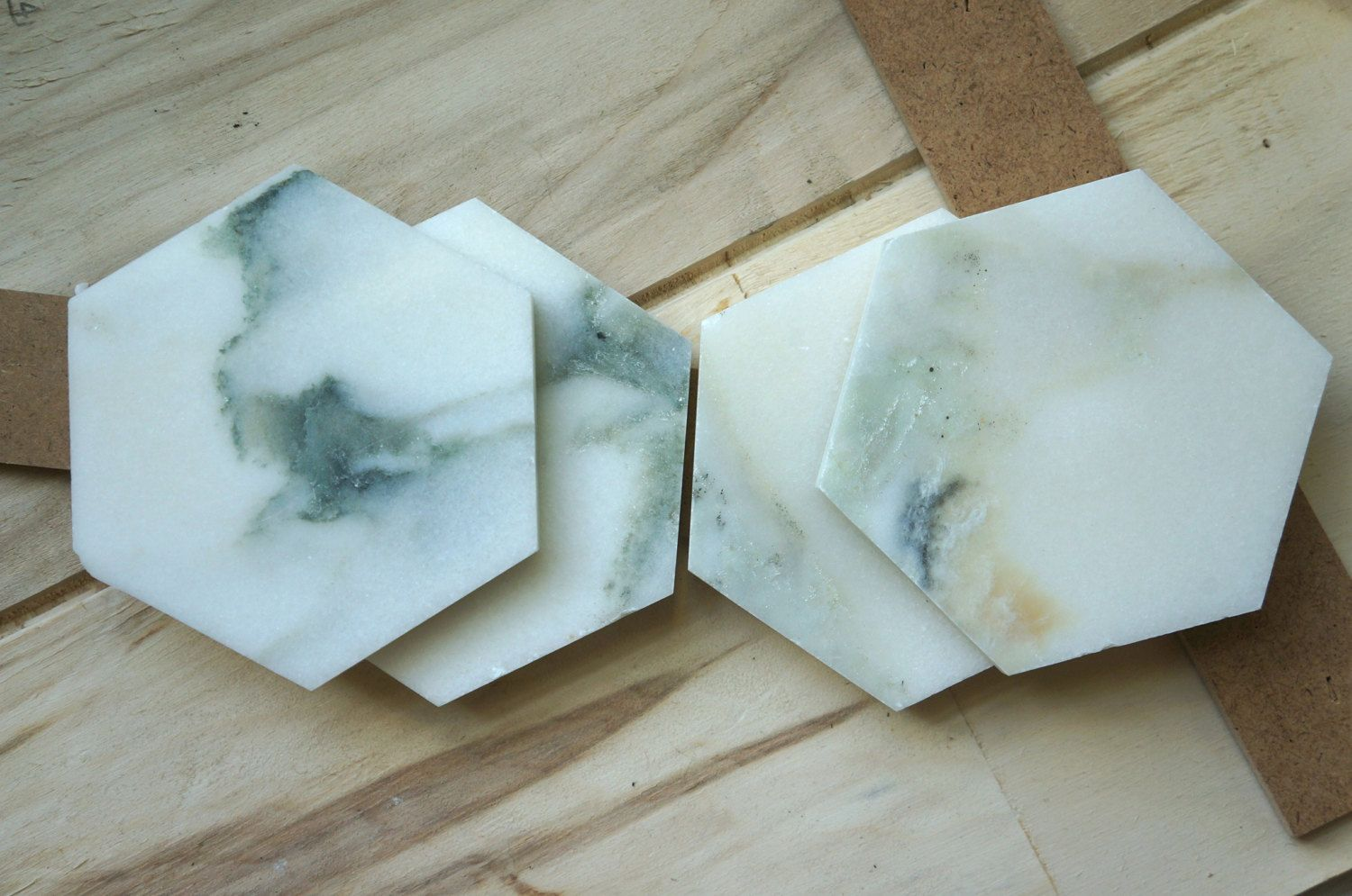 Green Marble Hexagon Coasters. Calacatta Gold Marble. Set of 4. Natural Stone Coasters by MeAConcrete on Etsy