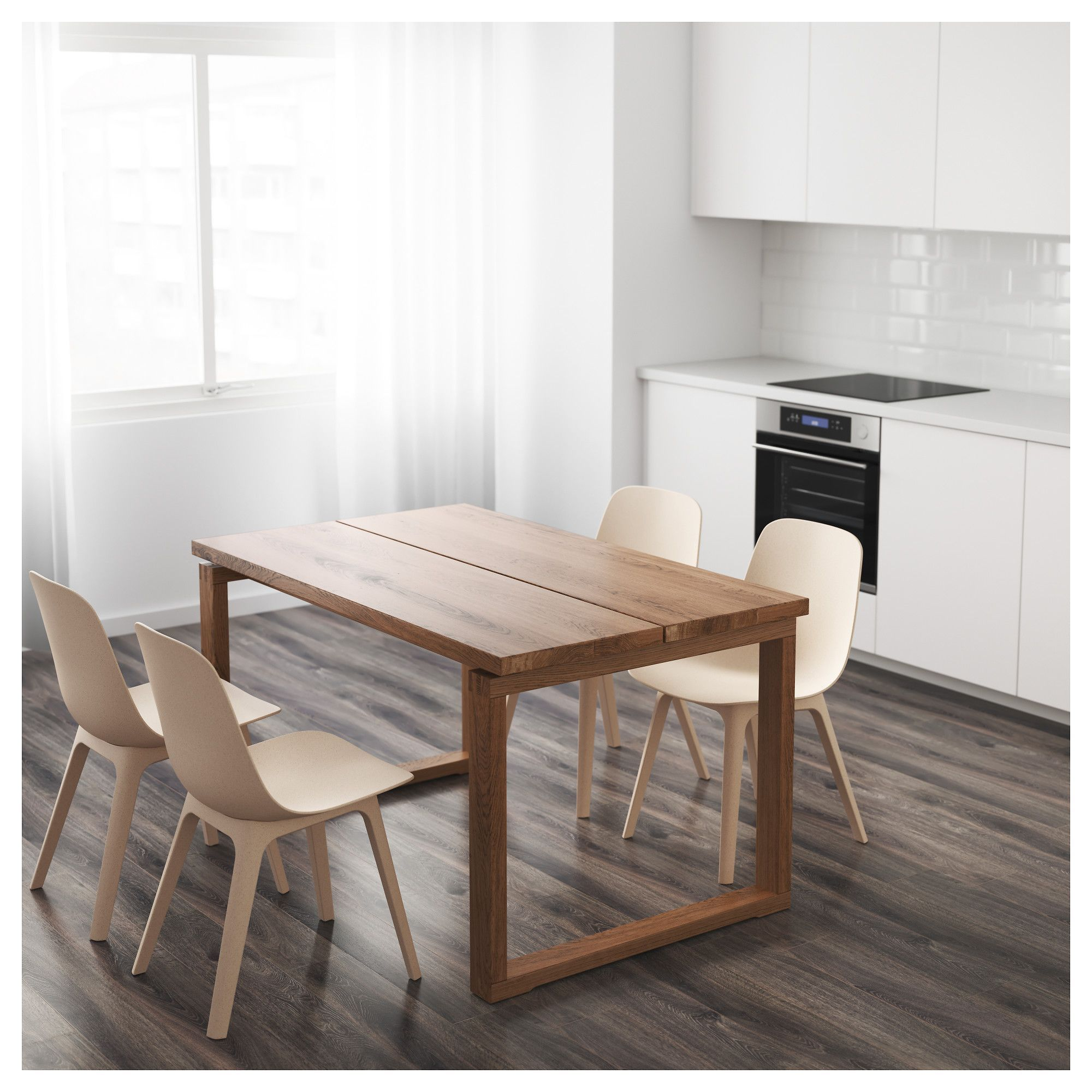 Morbylanga Table Oak Veneer Brown Stained Length 55 1 8 Ikea Interior Design Kitchen Contemporary Ikea Table Floating Table [ 2000 x 2000 Pixel ]