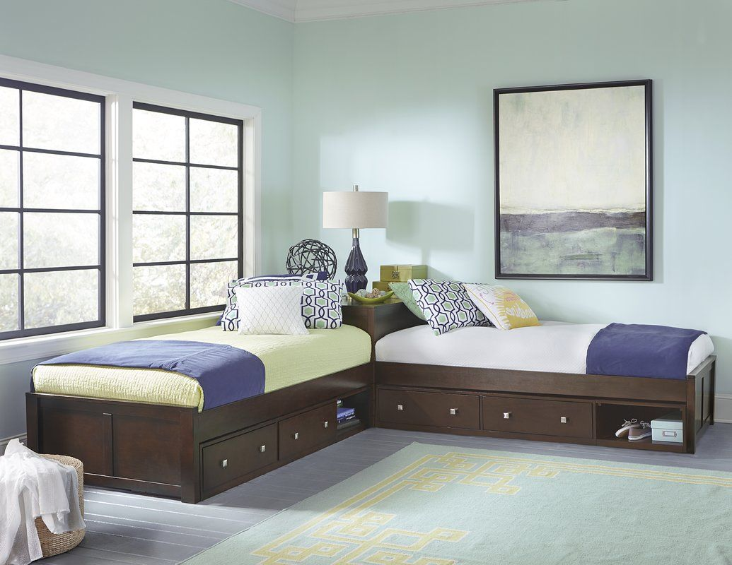 Kitsco Bynum Twin Platform L Shaped Bed With Storage Wayfair L Shaped Twin Beds L Shaped Beds Bed Storage