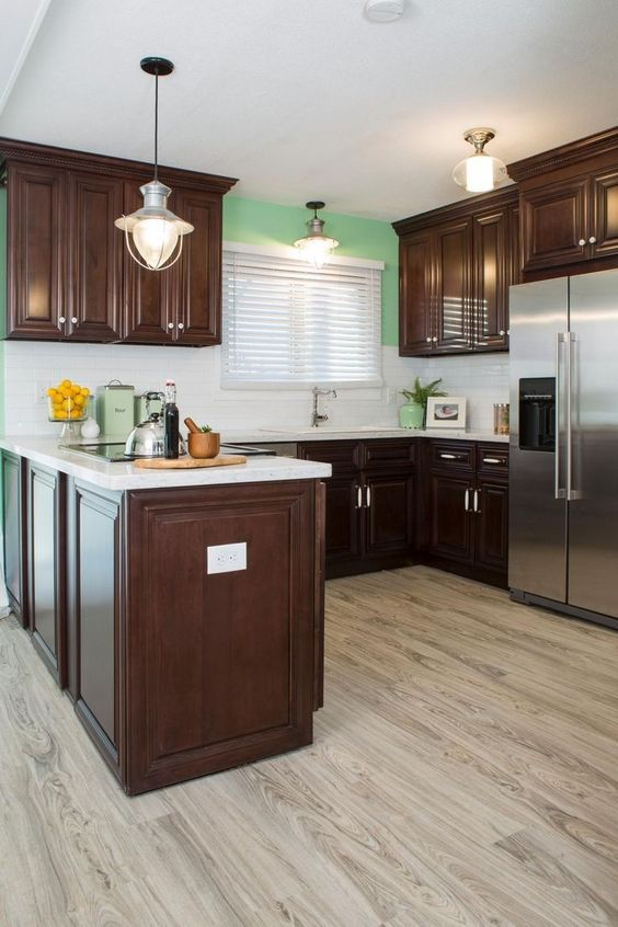 Dark Cherry Cabinets Wood Flooring in 2019 | Cherry wood ...