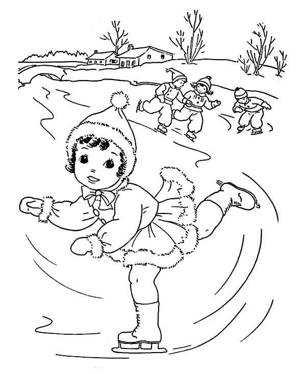Winter Season Lovely Young Little Girl Playing Ice Skating On Winter Season Coloring Page Coloring Pages Coloring Pages Winter Cool Coloring Pages