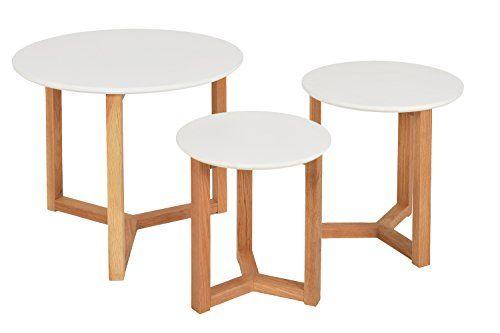 3er Set Design Beistelltische Rund Eiche Weiß Kaffeetisch Couchtisch