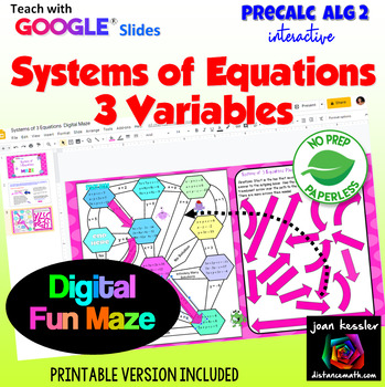 Systems of Equations with 3 Variables Digital Maze with