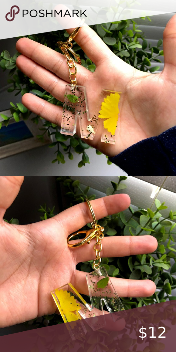 Letter M Resin Keychain🌼 in 2020 Handcrafted accessories