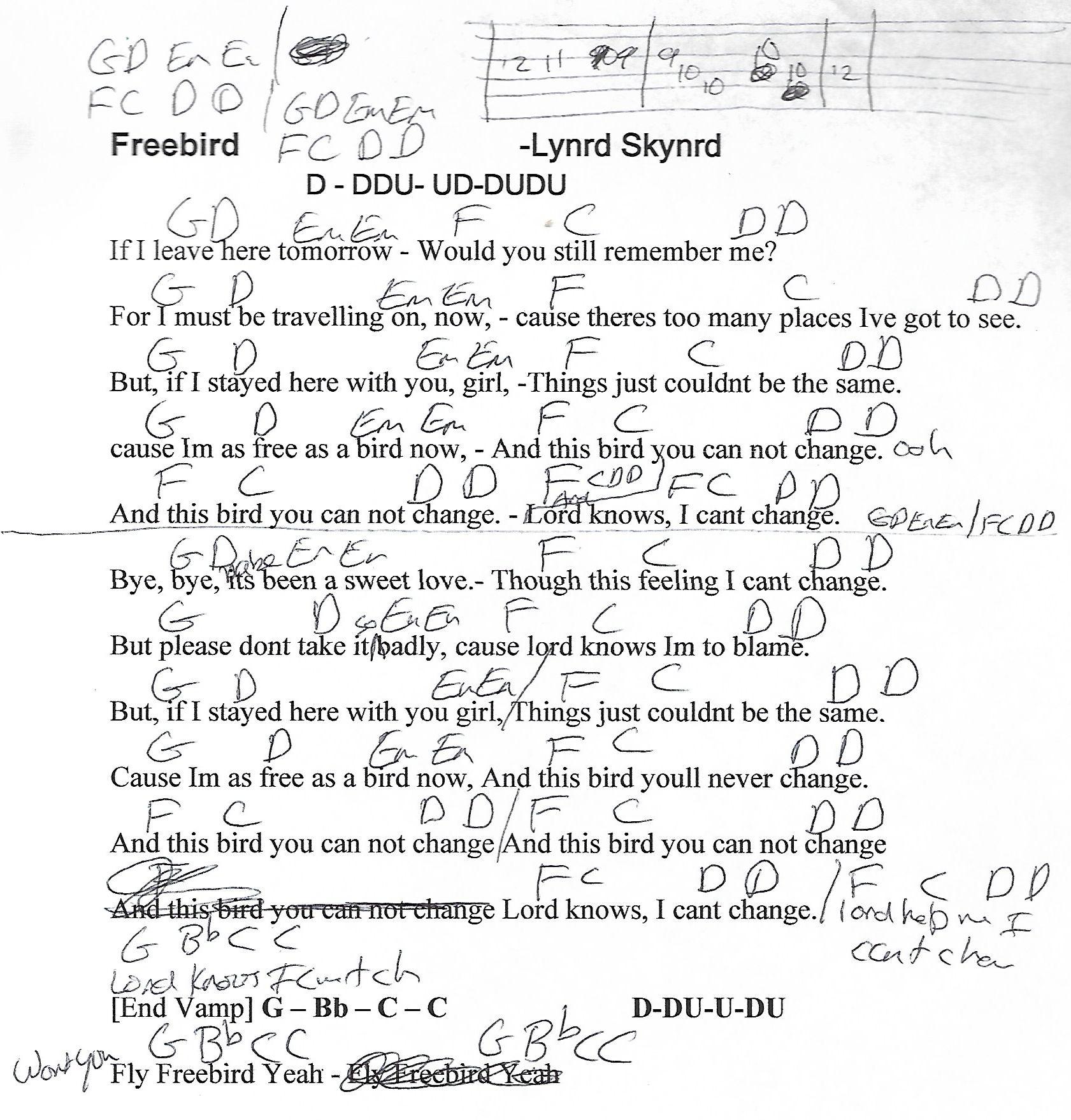 Freebird Lynyrd Skynrd Guitar Chord Chart Httpyoutube