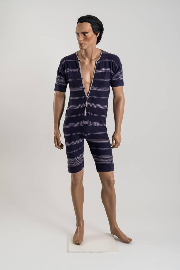 Mens Vintage Retro Swimsuit Victorian Bathing Suit Bathing Beauty in Blue Stripes Retro Swimwear Vintage Swimsuit Men