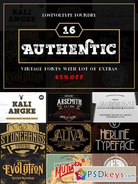Authentic Vintage Fonts Bundle 368567 | Typography | Vintage