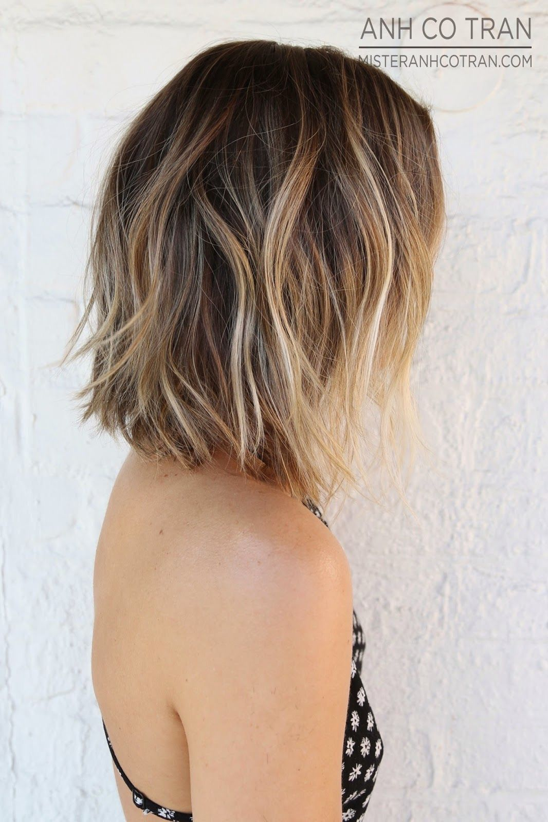 Brunette Hair With Balayage Golden Highlights Dimensional Ombre