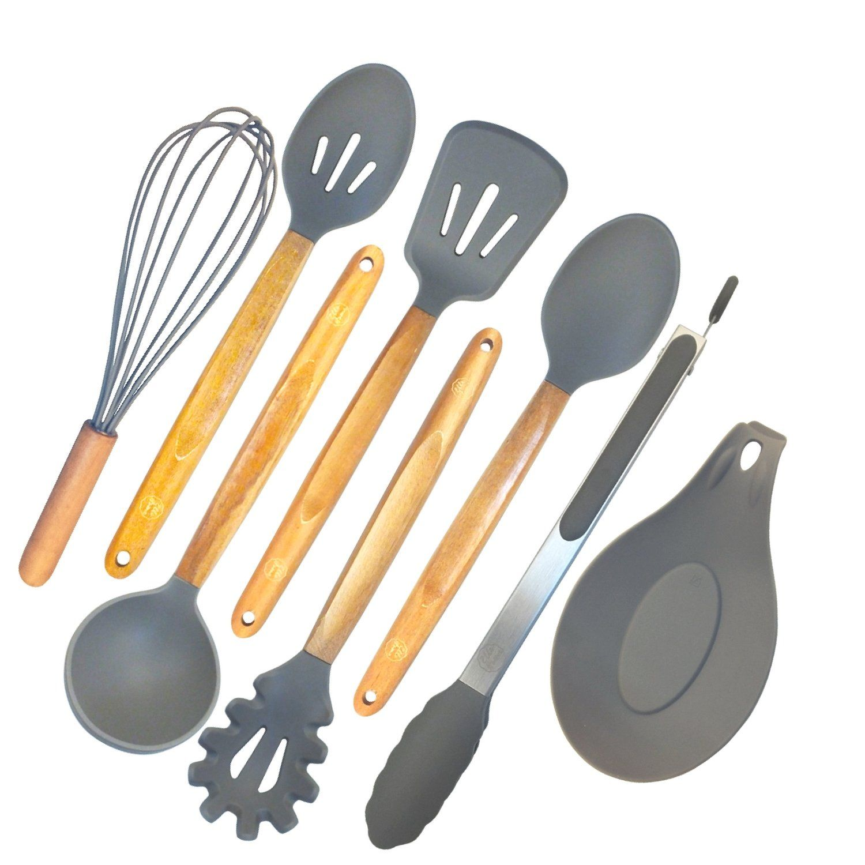 ELLO HOME Silicone Cooking Utensils Set   8 Piece Kitchen Utensil Set    Natural Acacia Wooden