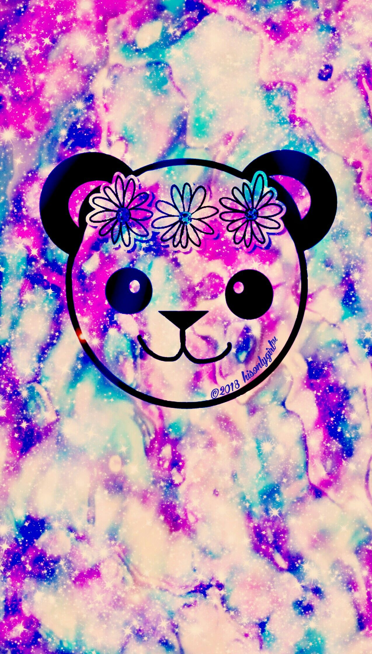Grunge Panda Galaxy Android Iphone Wallpaper I Created For The App Cocoppa Galaxy Space Hisonlygir Cute Lockscreens Butterfly Wallpaper Glitter Wallpaper