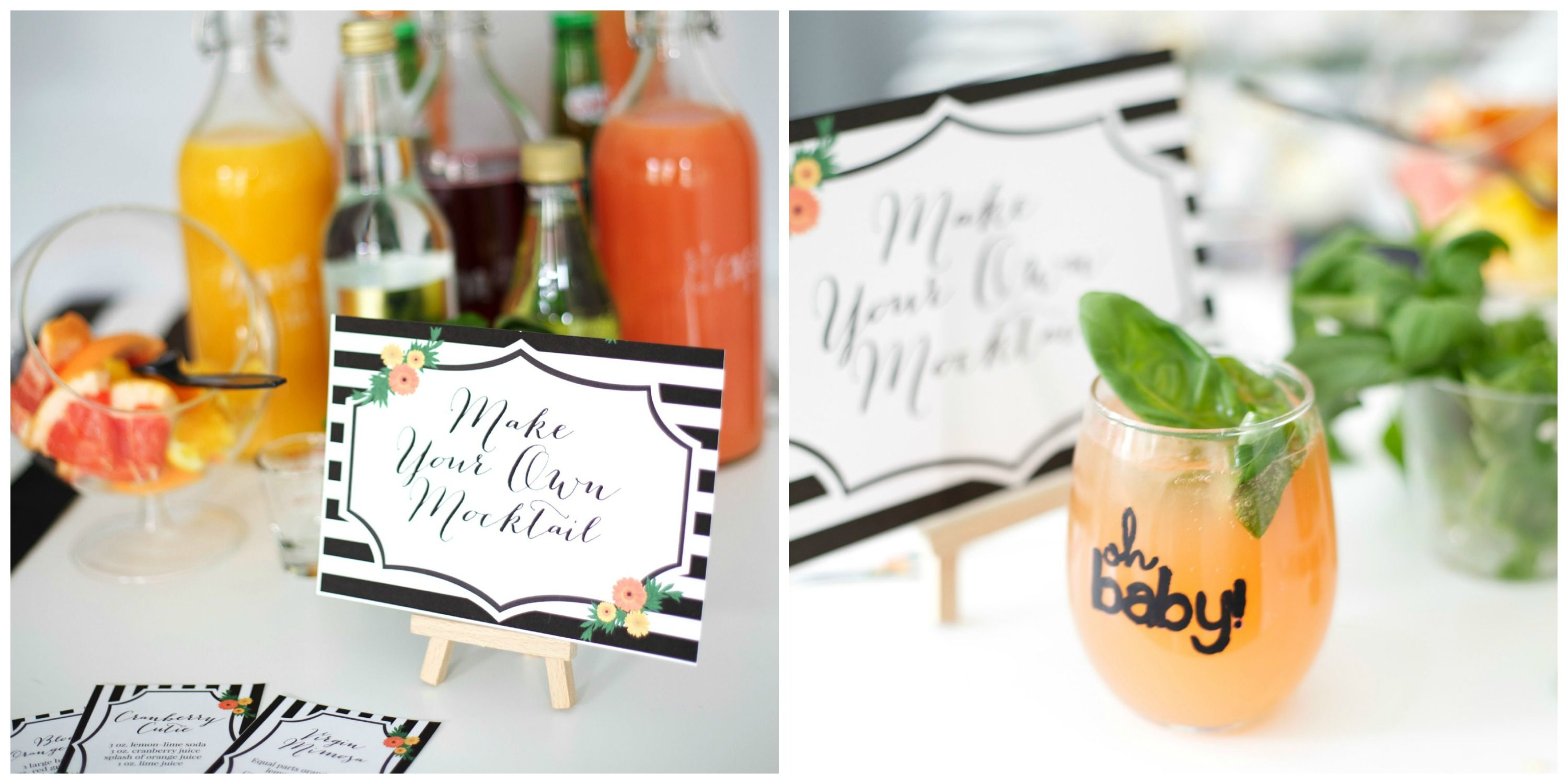 a fun make your own mocktail bar for a baby shower via