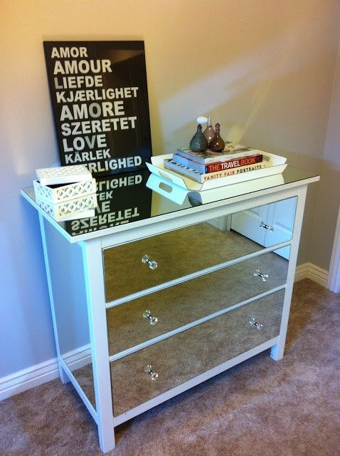 Diy mirrored dresser ikea malm dresser hack home decor for Malm kommode weiay