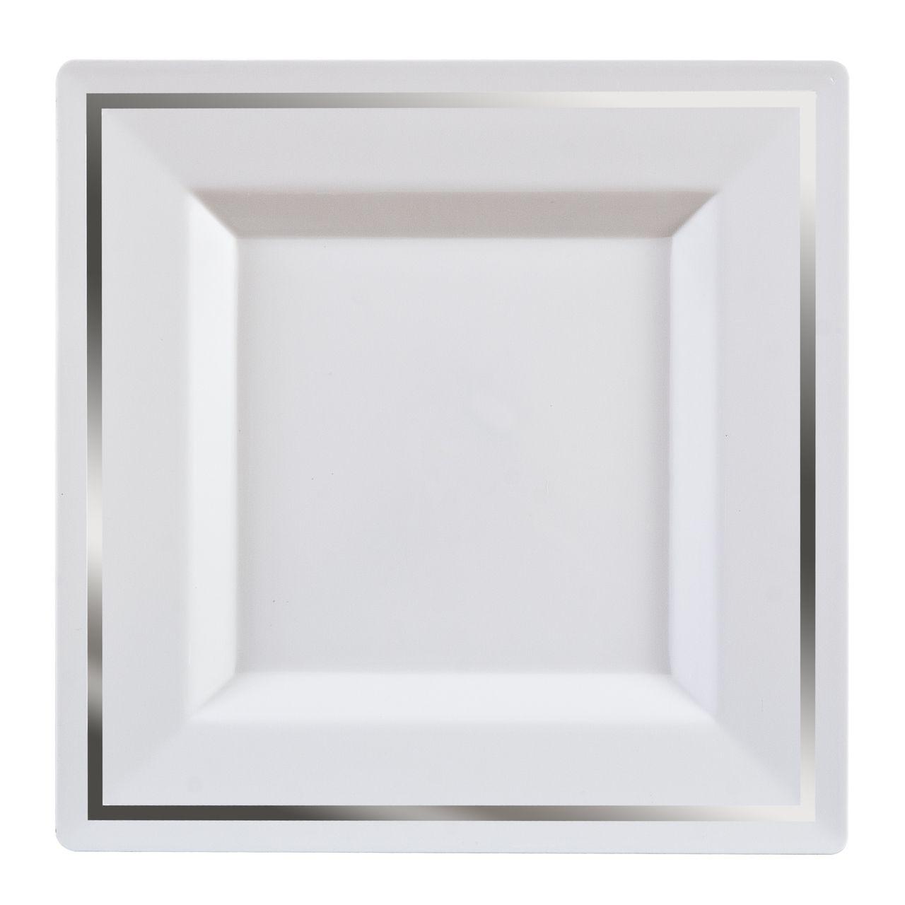 6  Square White/Silver Bari Plastic Dessert Plates  sc 1 st  Pinterest & 6