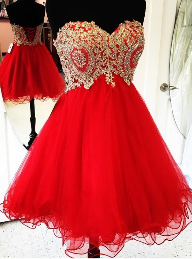 c3b4fb65223 Gold Lace Appliques Short Red Homecoming Dresses 2018 Cocktail Party ...