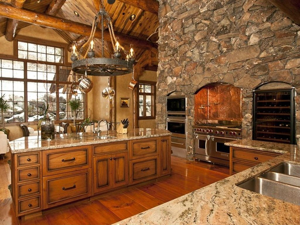 Rustic Kitchen with picture window, Flush, Pendant light ...