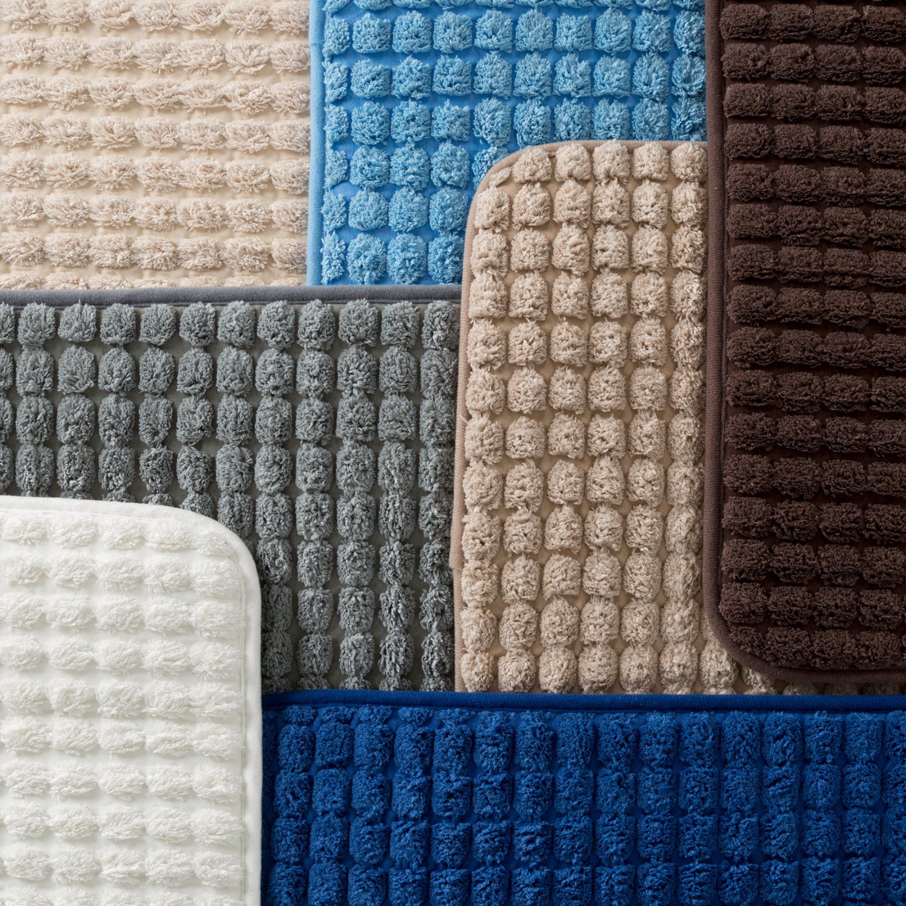 Lavish Home Extra Long Woven Jacquard Fleece Memory Foam Bath Mat