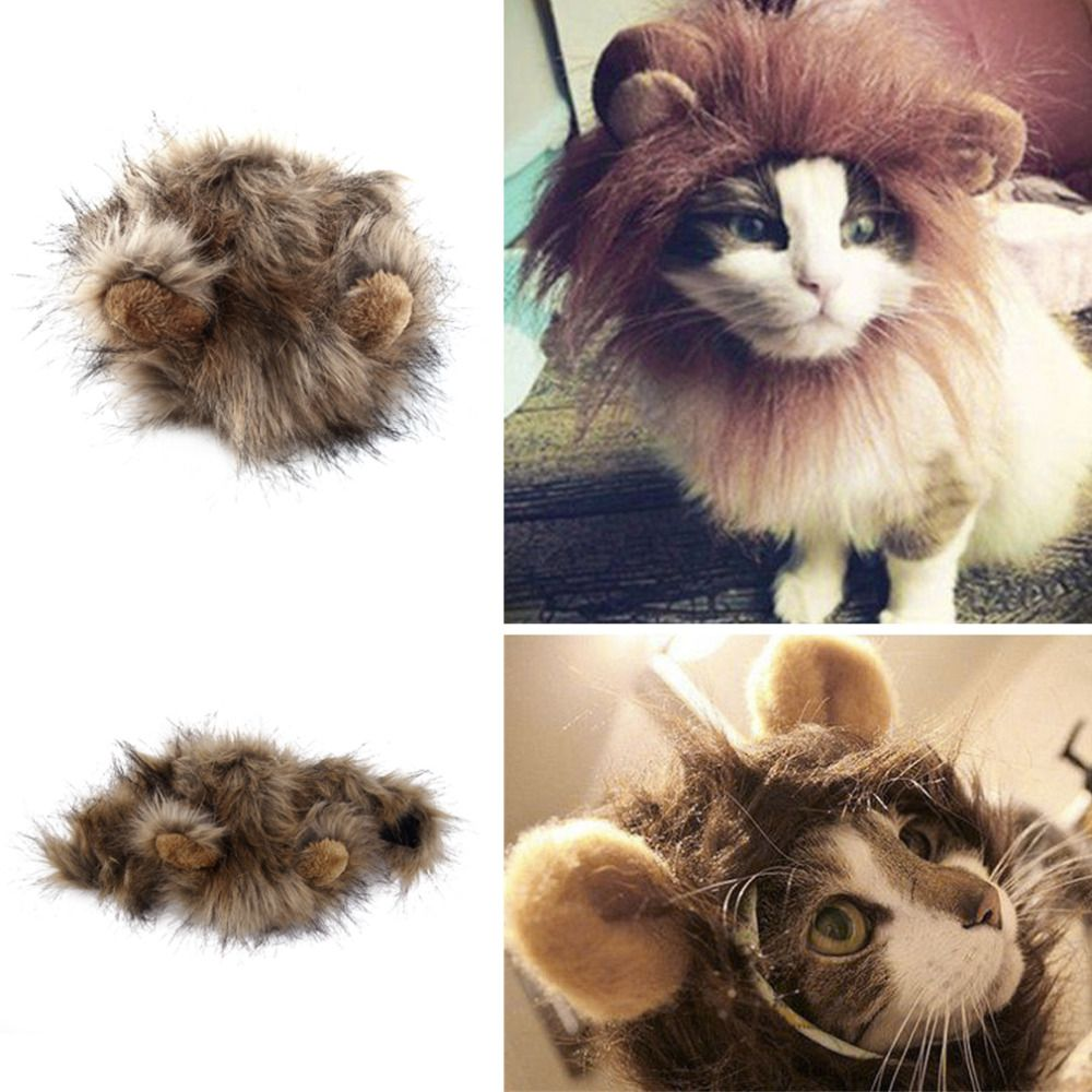 2017 Funny Cute Pet Costume Cosplay Lion Mane Wig Cap Hat for Cat