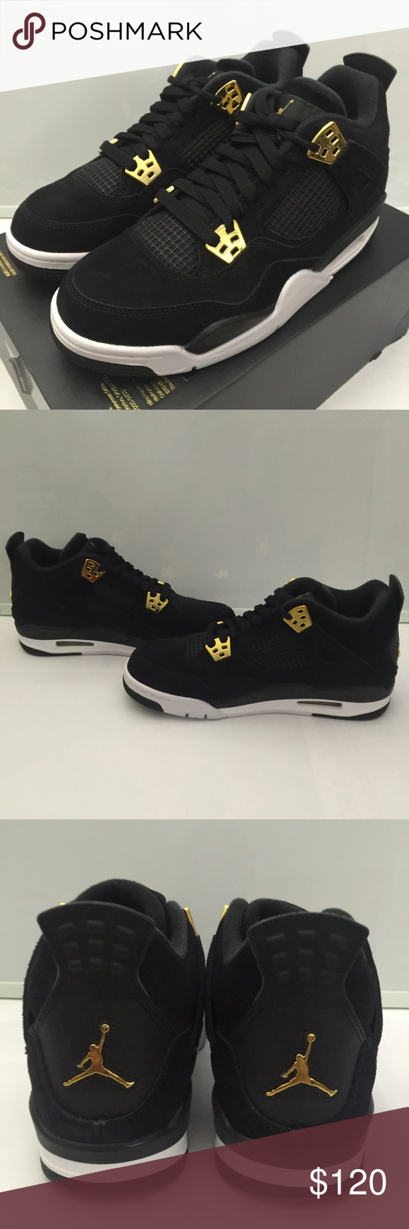 3fbe2f7f862406 Jordan 4 Retro Royalty Black Metallic Gold BG 6.5Y Brand new in original  box(