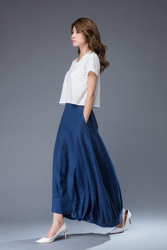 84cbde1fa Maxi skirt, blue skirt, linen skirt, Modern skirt, womens skirts, pocket  skirt, long skirt, asymmetr