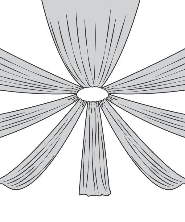 8-Panel Starburst 15ft Ceiling Draping Kit (32 Feet Wide)