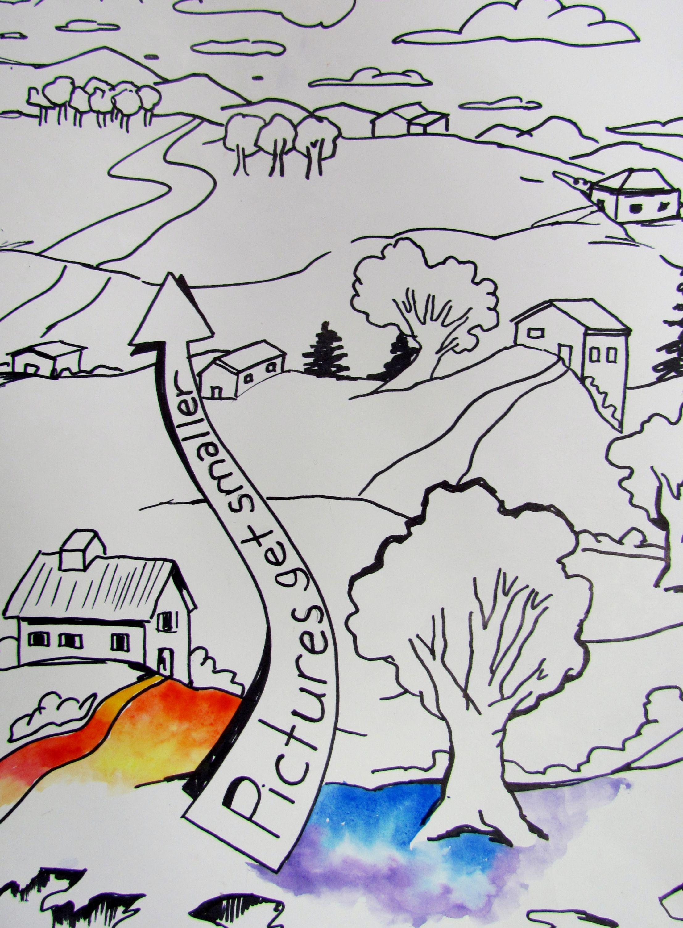 Landscape lesson   Elementary art projects [ 3006 x 2214 Pixel ]