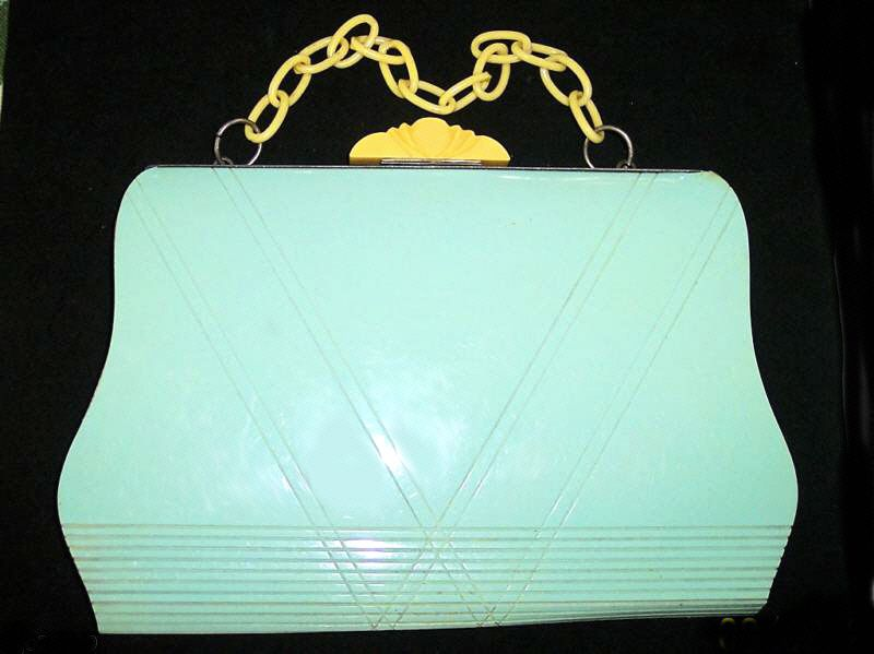 Aqua bakelite handbag (past Decogirl stock)
