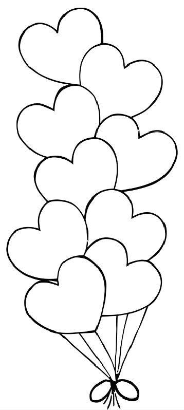 Valentine hearts balloons | Boyama kitapları | Pinterest | Molde ...