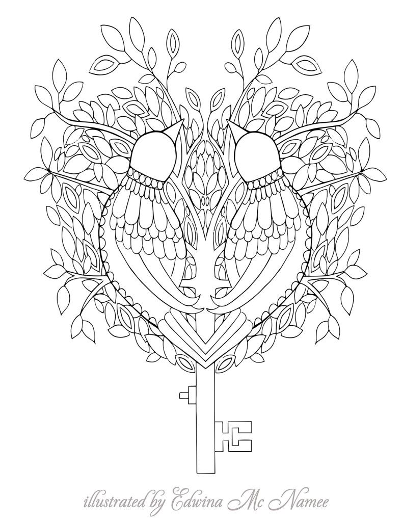 love birds key   free sample   Join fb grown-up coloring group: \