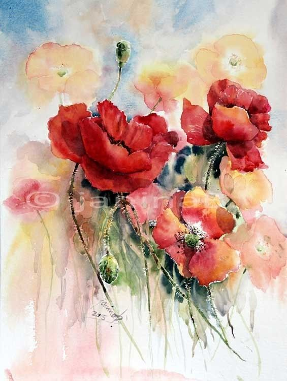mohnwiese aquarell 30x40cm my artist janina b pinterest webseite aquarell und blumen. Black Bedroom Furniture Sets. Home Design Ideas