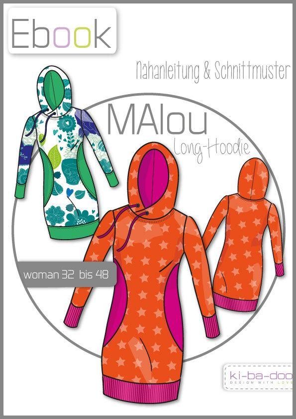 Ebook MAlou Damen-Long-Hoodie - Schnittmuster und Anleitung als PDF ...
