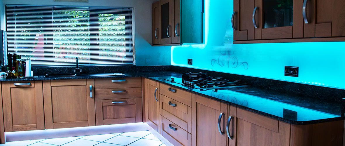 Blue LED Illuminated splashbacks by CreoGlass Design (London,UK ...