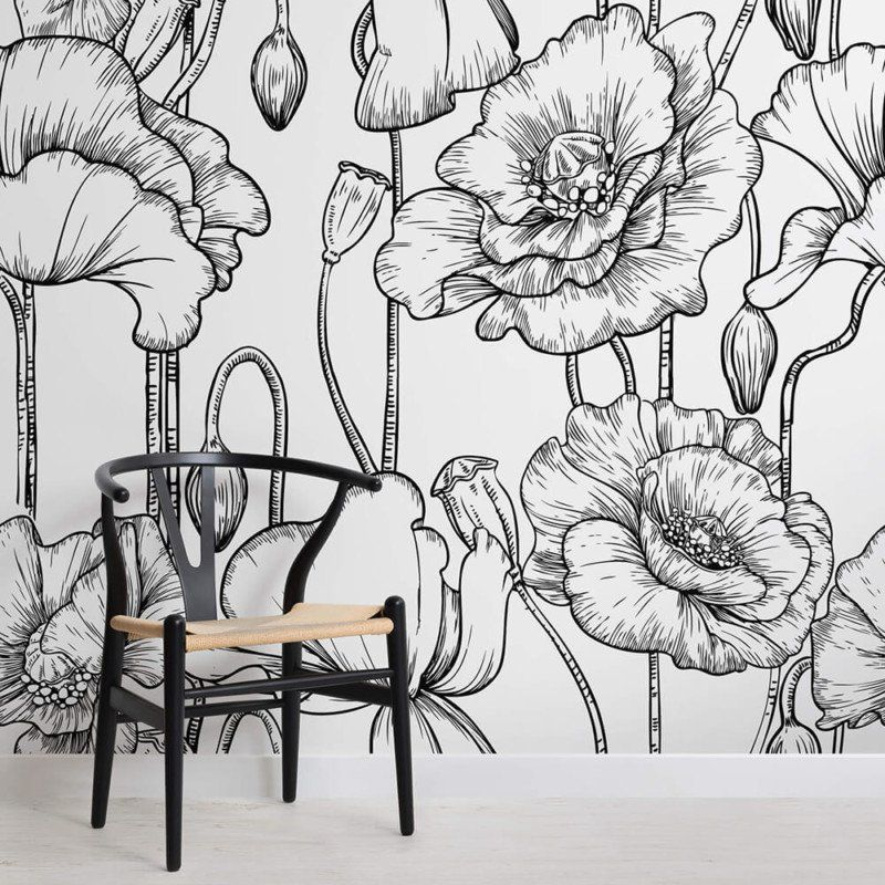 Black and White Illustrated Flowers Mural White flower
