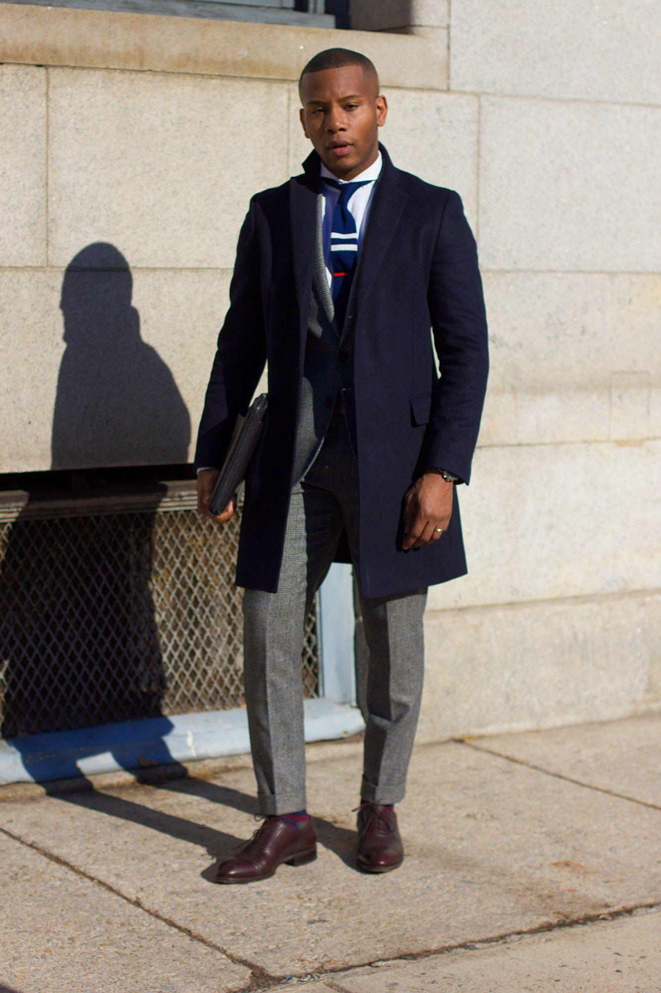 Mens Navy Topcoat Over Suit Sabir M Peele In Uniqlo Coat Winter