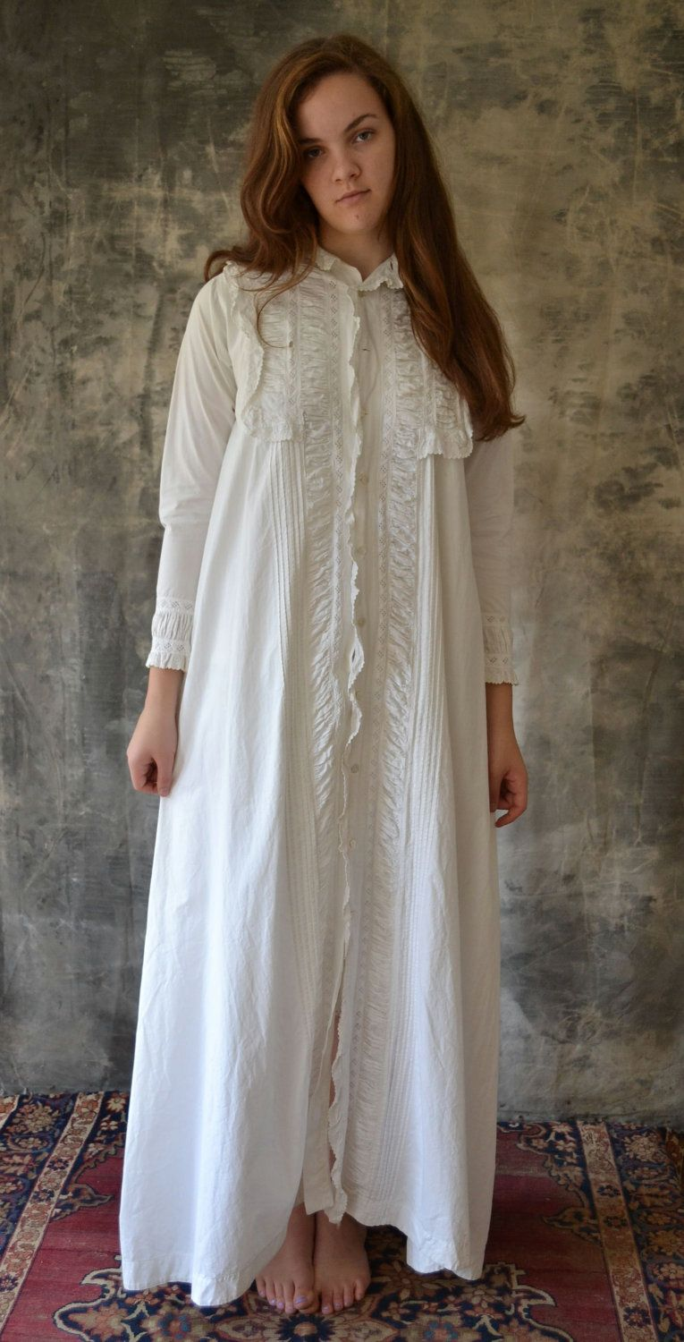 2091d91ad6 Victorian or Edwardian white cotton night dress.  65.00