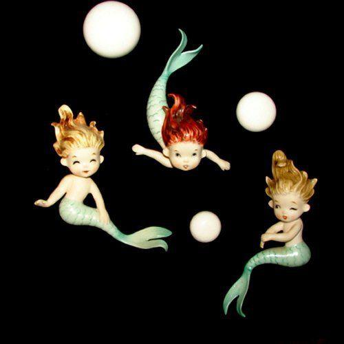 Mint Vintage Norcrest Mermaids Wall Plaque Set Bathroom Hanging   eBay