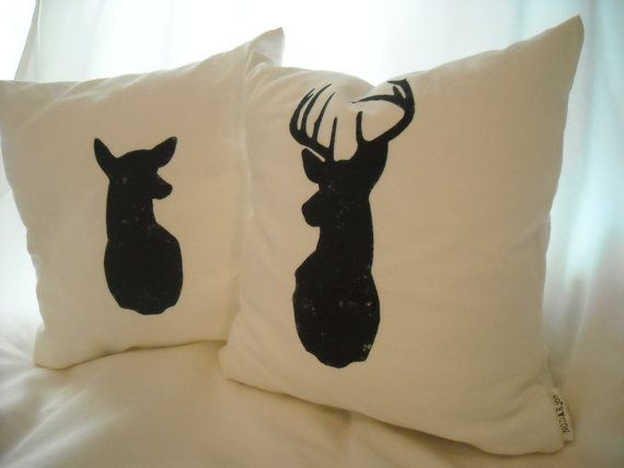 Buck Amp Doe Pillow Cover Pair Animal Silhouette Rustic