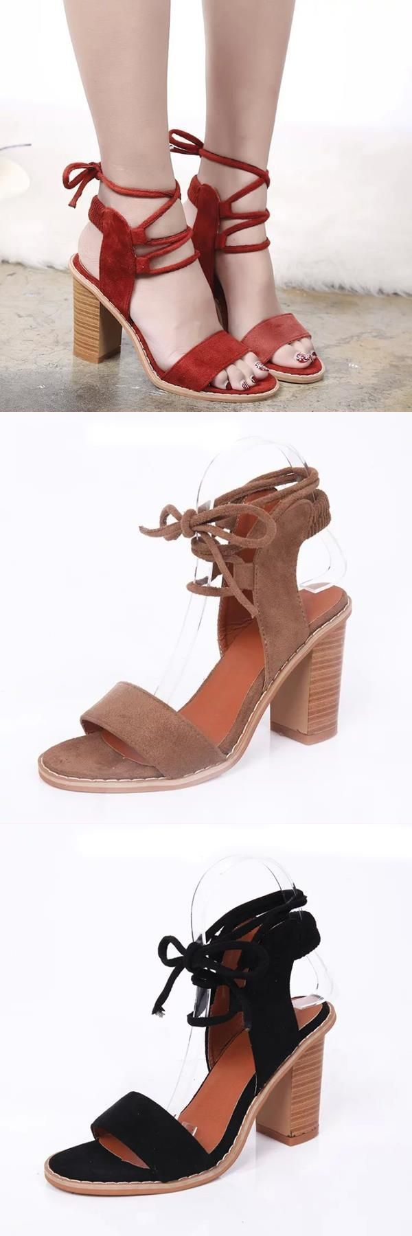 2e6a32c8f33c Women chunky heel lace up sandals suede strappy peep toe sandals pilyq  sandals  mamp s  sandals  ladies  sandals  aruba  sandals  in  st  lucia  v   shaped   ...