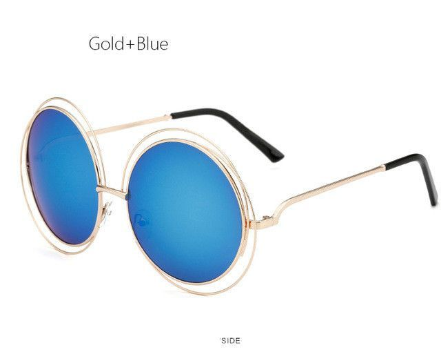 dc2282f307a TSHING Vintage Oversized Round Sunglasses Women Fashion Large Size Metal  Circle Mirror Sun Glasses F