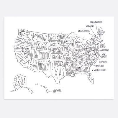 Easy, Tiger US Map - Unframed Textual Art Print on Paper ...