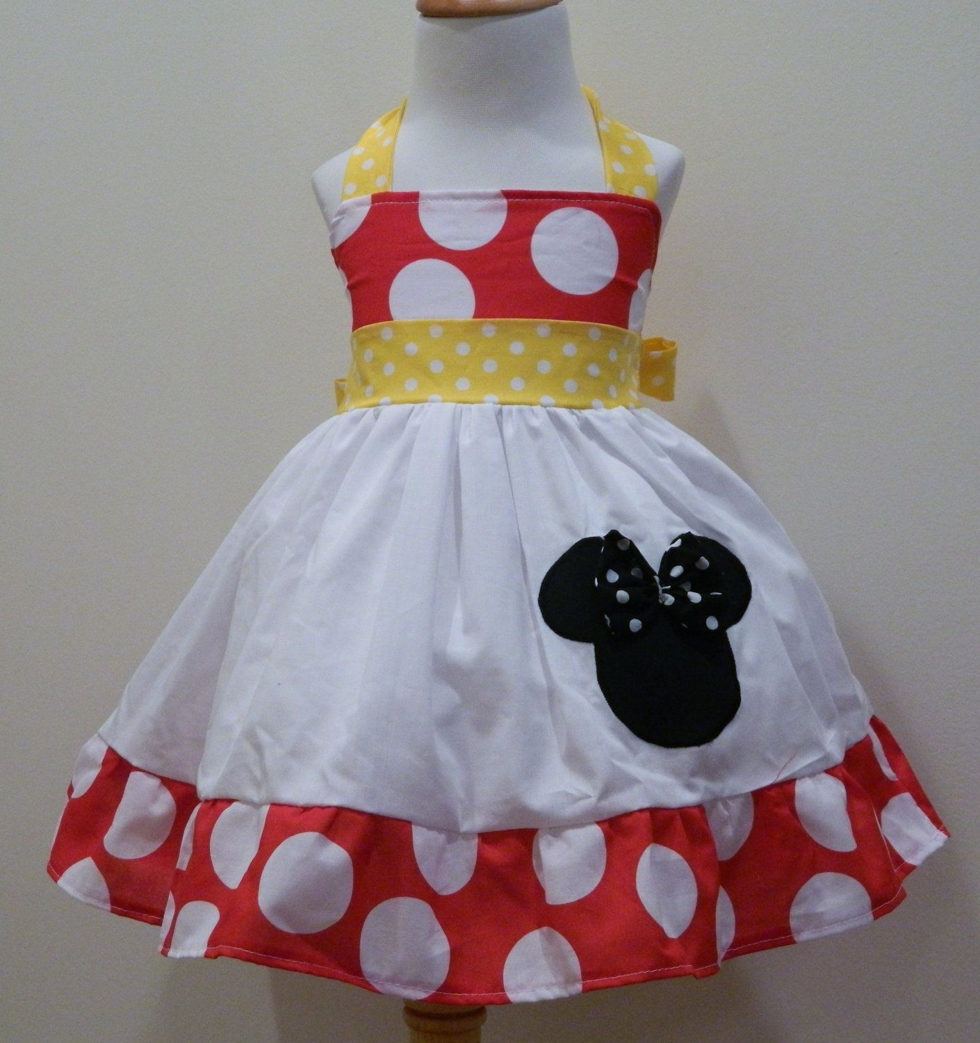 Girls Minnie Mouse Red And Yellow Halter Dress by FunUpTownGirls, $34.00