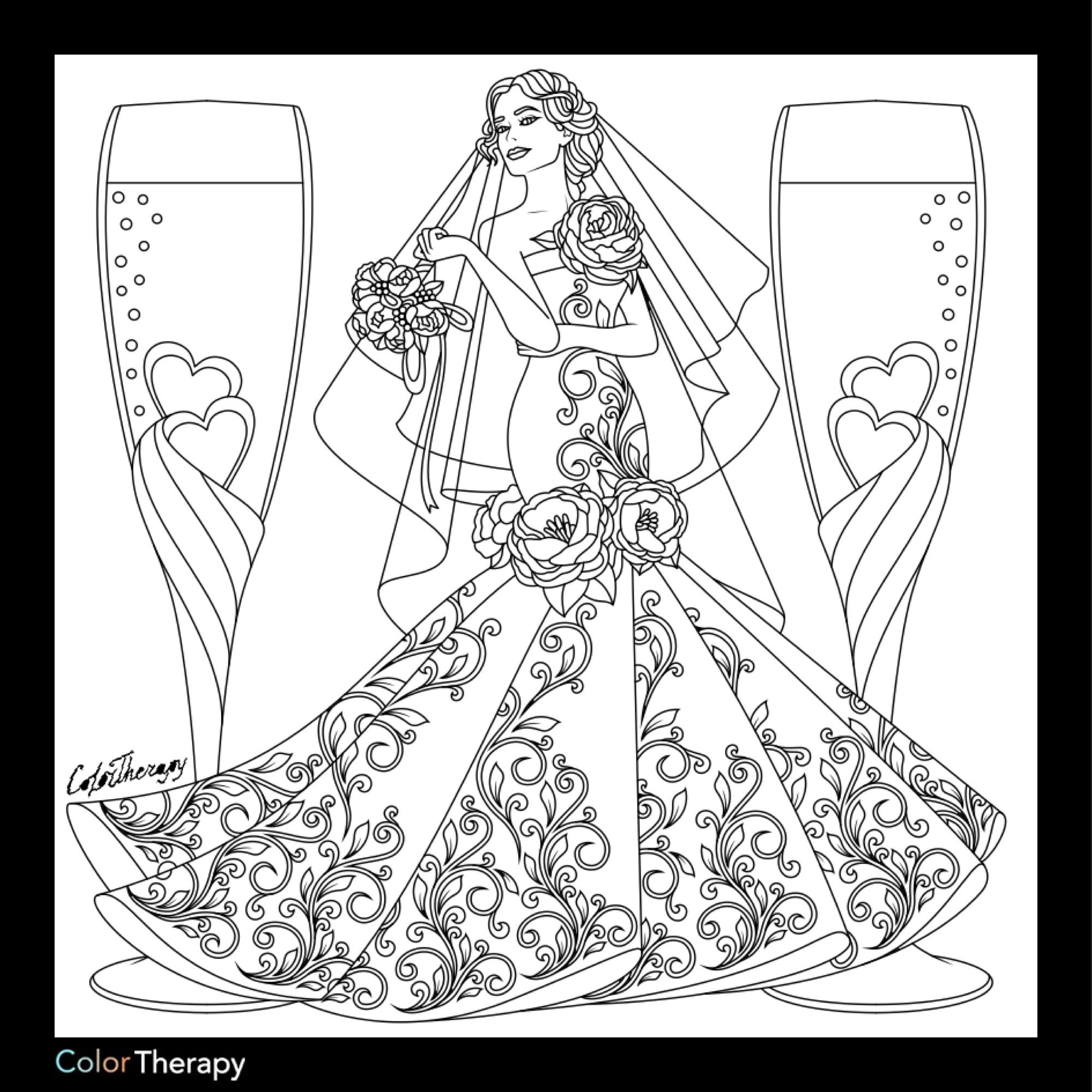 Bridal coloring page | Fashion Coloring Pages for Adults ...