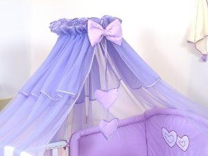 LUXURY BABY COT/BED CANOPY DRAPE-BIG 485cm HEARTS MOSQUITO NET NURSERY BEDDING + & LUXURY BABY COT/BED CANOPY DRAPE-BIG 485cm HEARTS MOSQUITO NET ...