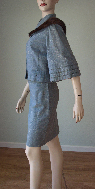 1950s Lilli Ann Powder Blue with Speckles Skirt Suit / Mink