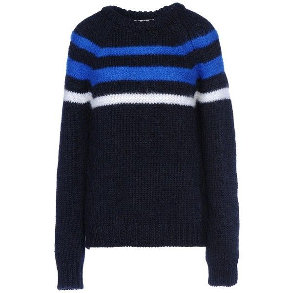 8 Jumper ($175) ❤ liked on Polyvore featuring tops, sweaters, dark blue, striped top, crewneck sweater, blue striped top, jumpers sweaters and striped sweater